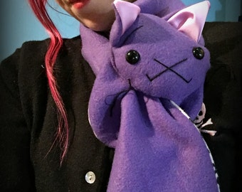 Purple Cat Animal Scarf, Short or Extra Long Purple Kitty Cat for kids or adults MADE TO ORDER