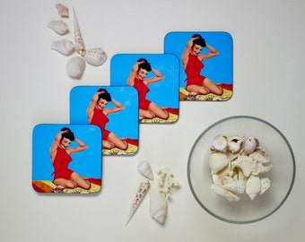 Pin Up Girl Coasters - Set of 4 - Pinup Beach Glamour Holiday - Kitsch Republic