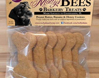 Molly's Bees Peanut Butter, Pumpkin and Honey Dog Cookies (6 ct)