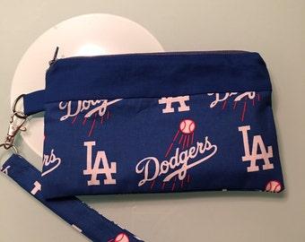 LA Dodgers Handmade Wristlet, Bag, Cosmetic Bag