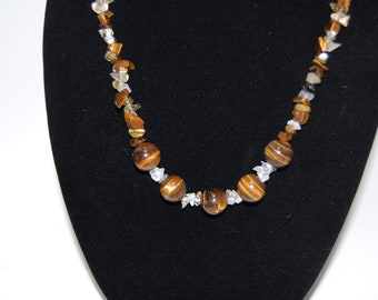 Tiger Eye and Citrine Necklace