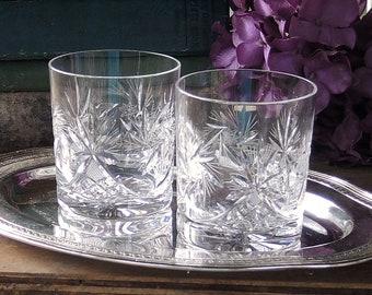 Vintage Brillant coupe coupes cristal Double ancien démodé lunettes Set de 2 Starburst Design verrerie whisky verres à boisson