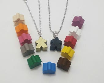 Meeple Necklace choose from 13 different colors! For the Geeky, Nerdy, Gamer, or Board gamer in you!