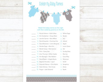 celebrity baby names matching game card printable baby clothes baby shower DIY blue baby shower digital games - INSTANT DOWNLOAD
