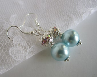 Light Blue Pale Blue Bridesmaid Earrings Blue Wedding Maid of Honor Baby Blue Bridal Party Pearl Earrings