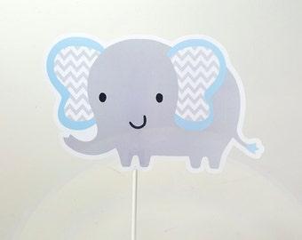 Elephant Cake Topper - Elephant Centerpiece Stick, Blue Chevron Elephant Cake Topper, Item 82916940P