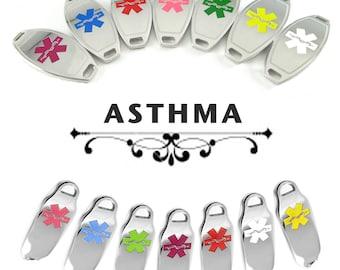 ASTHMA Medical Alert ID plate Pre-Engraved, for Stylish Medical Alert Beaded Bracelets