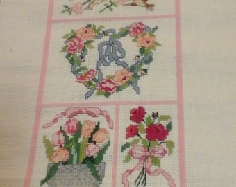 Hand Made Cross Stitch English Tudor Cottage Sampler , Pink , Pretty , Airy , Pastels , Heart , can be personalized