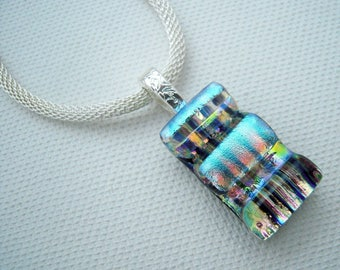 Fused glass pendant, blue necklace, fused glass jewelery, OOAK pendant, dichroic glass necklace, glass art, silver pendant
