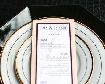 "Blush and Burgundy, Wedding Menus, Dinner Menu, Floral Reception Decor, Table Decor - ""Graceful Botanic"" Flat Menu, 2 Layers - DEPOSIT"