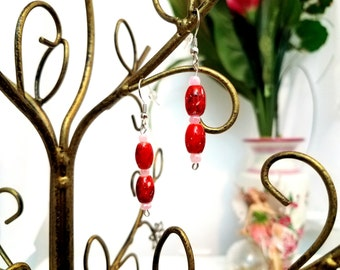Beaded Wire Earrings by Anne O'Brien Design / Cherry Red and Pink Silver Wire Earrings