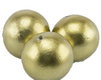 24mm Papermached  bead in brass color metallic 1Pcs (PmA010_24mm_G306)