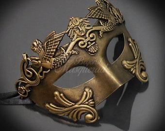 Mens Masquerade Mask, Gold Roman Mask, Greek God Mask, Mardi Gras Venetian Masquerade Mask, Masquerade Ball Mask