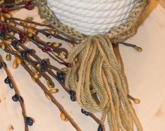 Hand Knit Newborn Bonnet/Merino Wool/Green and Gold/Hand Dyed Yarn/Photo Prop