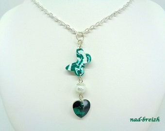 Necklace silver chain + polymer clay - Fimo Butterfly emerald green and white + White Pearl + Crystal Swarovski - handmade