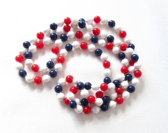 Patriotic Necklace Extra Long Vintage Beaded Jewelry