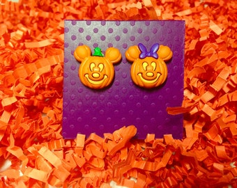 Disney earrings, Disney jewelry, Mickey and Minnie pumpkin, Halloween earrings,  Fish extenders, Disney cruise