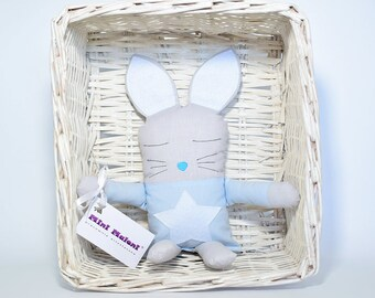 Bunny mascot, blue pastels, with star