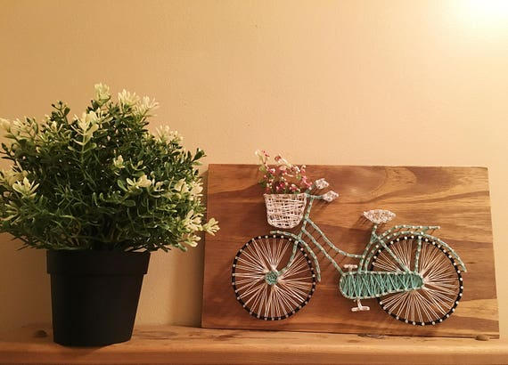 Bicycle String Art With Flowers Wall Decor Wood String Art