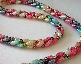 Vintage Plastic Mulitcolor Rainbow Beaded Gold tone seed Bead 3 Strand Torsade Necklace