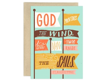 God Provides the Wind Illustrated Greeting Card