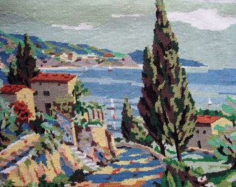 Vintage French needlepoint tapestry canvas embroidery - Provence seaside landscape