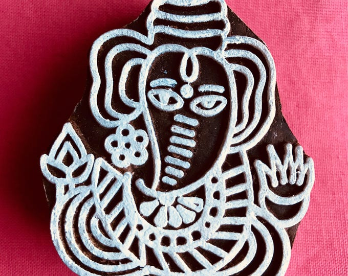 Ganesha Hand carved Wooden Block Stamp for textile t-shirt printing, scrapbooking, henna, clay work, pottery, Indian design, Arts Crafts