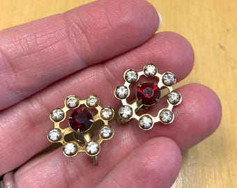 Vintage 1950s P&F Couture Gold Filled Rhinestone and Garnet Screw Back Earrings Old Hollywood Glam Costume Jewelry Wedding Cocktail Party