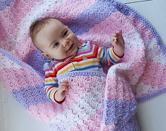 Handmade Blanket/Crochet Baby Blanket/Striped Blanket/Pink Blanket/Crib Blanket/Crochet Stripes/Purple  Blanket/Baby Afghan