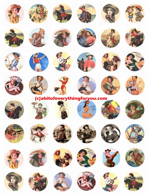 vintage cowgirls art collage sheet 1 inch circle clip art digital download graphics images old photos pinups ranch rodeo country western art