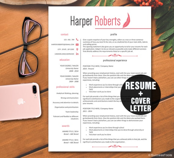 2 page resume template packageinstant download professional