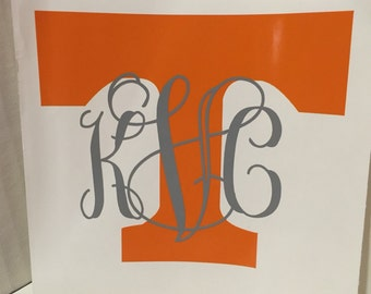 Monogrammed Tennessee Vols T Decal