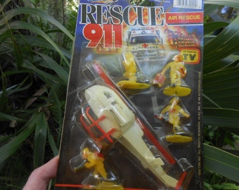 Vintage Toy Rescue 911 as seen on TV- Helicopter- Rescue Workers Sealed Card