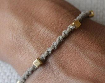 Bracelet Colo 05 Gold Cotton Handmade - Natural (B105GD-CNT)