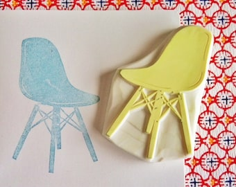 eames chair rubber stamp   furniture stamp   mid century design   birthday scrapbooking   diy art journal   hand carved by talktotehsun
