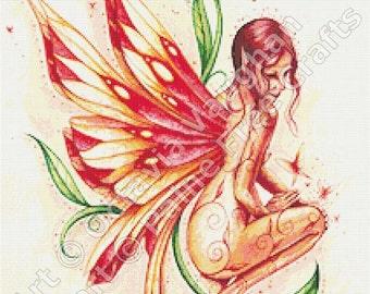 Fire Fairy - emailed PDF chart / pattern, original art by Octavia Vaughan