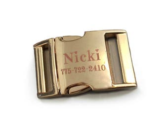 Engraved Gold Personalized Buckle Upgrade for You Had Me at Woof Dog Collars in 1 Inch Width, 12 Font Choices