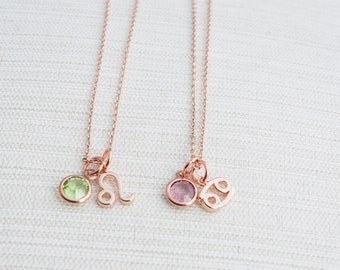 Zodiac & Birthstone Necklace, Rose gold zodiac necklace, birthstone jewelry