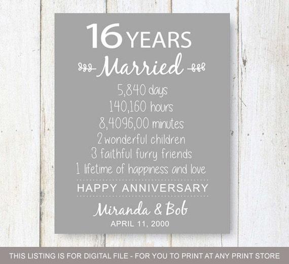 16th Anniversary Gift 16 Years Of Wedding Anniversary