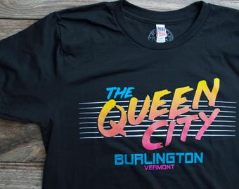 Queen City Tshirt Mens shirt Burlington Vermont 80's inspired