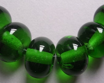 Handmade Lampwork Green Glass Beads Ericabeads Dark Green Spacers (6)