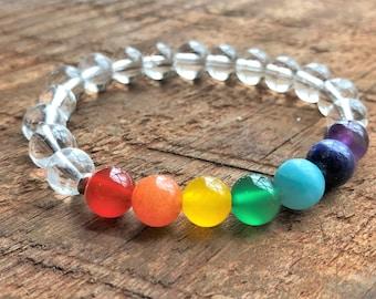Chakra Bracelet 8mm - Yoga Jewelry - Mala Beads - Gemstone Jewelry - Energy Bracelet - Chakra Jewelry - Yoga Bracelet - Meditation Bracelet