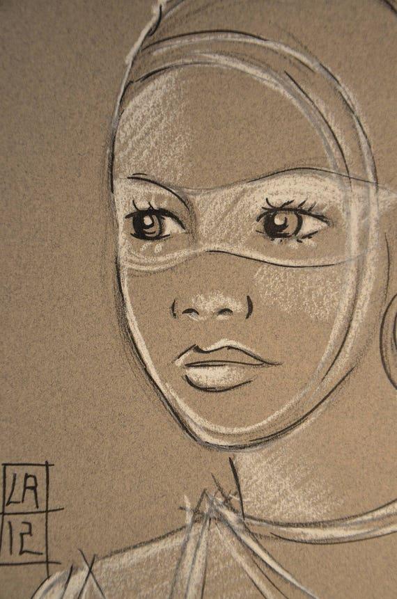 Dessin africaine regard noir et blanc portrait - Dessin africaine ...