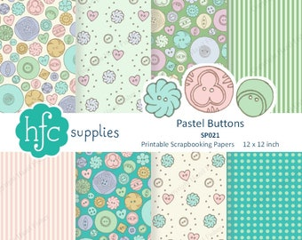 Pastel Buttons Digital Paper Set - 12x12 inch Printable Scrapbook Papers , hand drawn vintage button patterns - Instant Download SP021