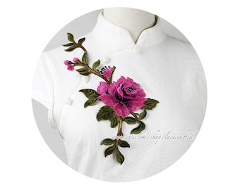 Purple Rose Flower Lace Applique Trim Rosy Pink Rose Vine Embroidery Appliques Sewing on Applique Patch