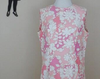 Vintage 1960's Floral Shift Dress / 60s Peck & Peck Dress L  tr