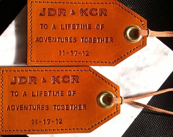 The Perfect Wedding or 3rd Anniversary Gift - Personalized Leather Luggage Tags - To a Lifetime of Adventures Together - Set of Two