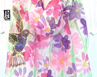 Silk Scarf Birds, Hand Painted Silk Scarf, Pink Silk Scarf, Hummingbird Art, Chiffon Scarf, Hummingbird Scarf, Pink Cosmos, Made to order