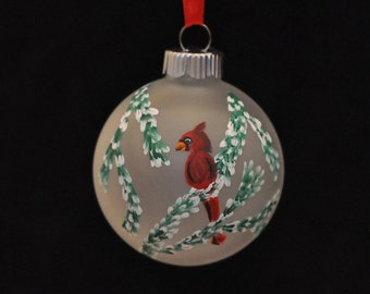 Cardinal in Branches Hand Painted Holiday Ornament