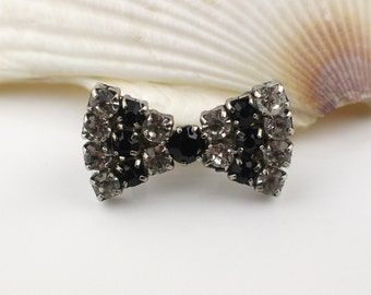 Bow Brooch Silver Tone Clear and Black Rhinestone Diamante Stones